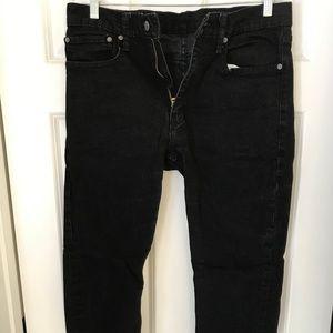Levi 502 Taper Fit Stretch Black Mens Jeans 34x32